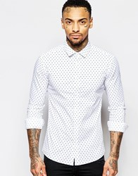 Asos Skinny Shirt In Heart Print With Long Sleeves White