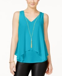 Amy Byer Bcx Juniors' Flyaway Front Tank Top With Necklace Tuquoise