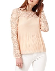 Miss Selfridge Lace Inset Accordion Pleated Top Beige