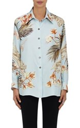 Resee Women's 1980S Hermes Tropical Print Silk Blouse Blue
