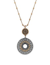 Lucky Brand Pave Dream Tribal Pendant Necklace Two Tone