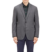 Luciano Barbera Men's Plain Weave Two Button Sportcoat Grey