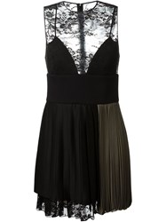 Fausto Puglisi Lace Panel Pleated Dress Black