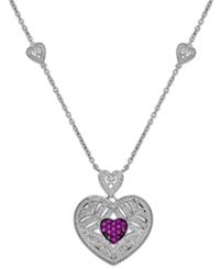 Macy's Ruby 1 3 Ct. T.W. And Diamond 1 10 Ct. T.W. Heart Pendant In Sterling Silver