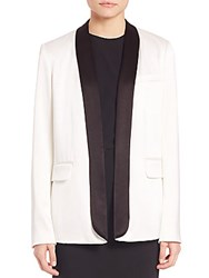 Alice Olivia Edison Long Tuxedo Blazer White Black