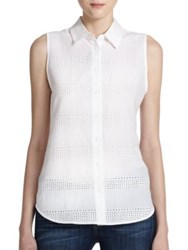 Equipment Colleen Eyelet Cotton Sleeveless Shirt Bright White