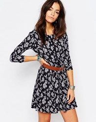 Esprit All Over Floral Print Swing Dress Navy Grey