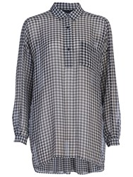 French Connection Millie Gingham Shirt Black White