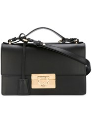 Salvatore Ferragamo Gancio Lock Shoulder Bag Black