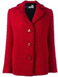 Love Moschino Boucle Buttoned Jacket Red