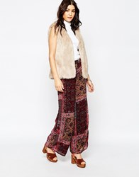 Glamorous Wide Leg Trousers In Scarf Print Burgprint