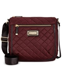 Calvin Klein Nylon Quilted Messenger Rum Raisin Black Patent