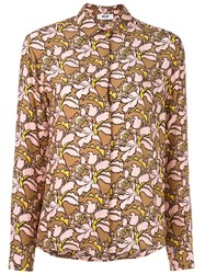 Msgm Floral Print Blouse Pink And Purple