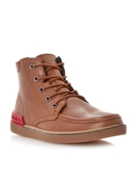 Lacoste Zinder Lace Up Warm Lined Apron Boots Tan