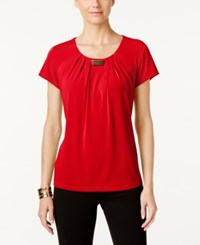 Ny Collection Pleated Hardware Trim Top Scarlet Sage