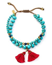 Chan Luu Turquoise And Lapis Double Strand Beaded Tassel Bracelet
