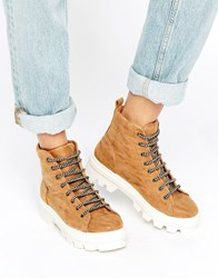 Asos Abbith Lace Up Boots Sand Beige