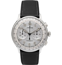 Junghans Meister Telemeter Chronoscope Stainless Steel And Leather Watch Black