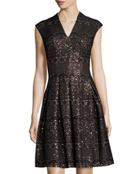 Chetta B Fit And Flare Sequined Dress Blk Bronze