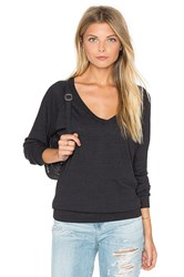 Nation Ltd. V Neck Raglan Sweatshirt Black
