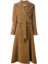 Vivetta Long Embroidered Coat Brown