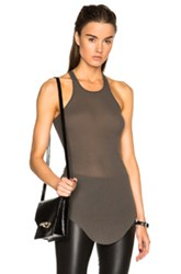 Rick Owens Ribbed Cotton Basic Tank In Gray
