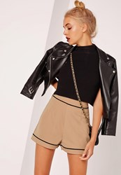 Missguided High Waisted Pocket Back Shorts Nude Beige