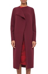 Akris Women's Fringe Trim Double Face Wool Crepe Coat