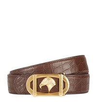 Stefano Ricci Oval Eagle Buckle Croc Belt Unisex Brown