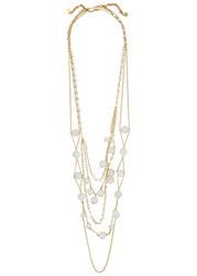 Isharya Serpent Orb Layered Gold Plated Necklace White