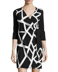 Casual Couture Stretch Knit Wrap Dress Black White