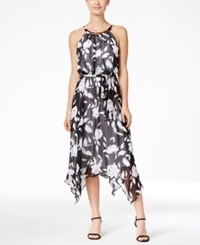 Sangria Sleeveless Belted Chiffon Midi Dress Black White