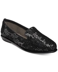 Aerosoles Betunia Smoking Flats Women's Shoes Black Sequin Lace