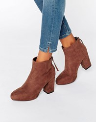 Asos Ellijah Heeled Ankle Boots Brown
