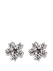 Oscar De La Renta Flower Crystal Embellished Earrings Black