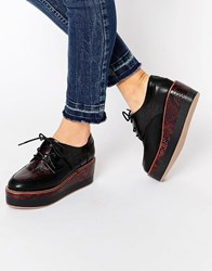 Aldo Chunky Wedge Sole Lace Up Shoes Bordo Red