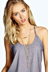 Boohoo Layered Stone And Bar Necklace Pink