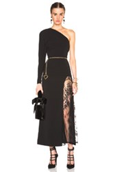 Alessandra Rich One Sleeve Lace Intarsia Dress In Black
