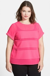 City Chic 'Sheer Splice' Top Pink