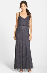 Adrianna Papell Women's Embellished Blouson Gown Gunmetal Gold