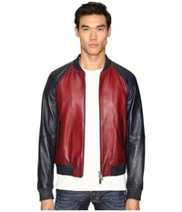 Dsquared American Road Trip Leather Jacket Red Blue Men's Coat