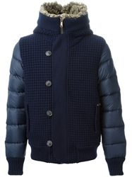 Bark Knitted And Padded Hooded Jacket Blue