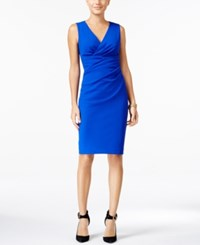 Betsey Johnson V Neck Ruched Sheath Dress Royal Blue