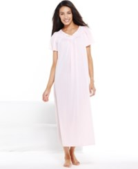 Miss Elaine Plus Size Tricot Flutter Sleeve Long Gown Pink