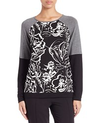 Kensie Floral Colorblocked Sweatshirt Black