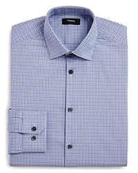 Theory Small Check Regular Fit Dress Shirt Blue Multi