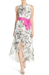 Women's Eliza J Floral Print Faux Wrap Front Chiffon High Low Dress