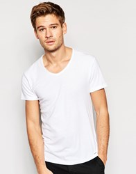 Esprit Scoop Neck T Shirt With Raw Edge White