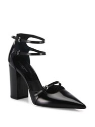 Michael Kors Robyn Spazzolato Leather Block Heel Pumps Black
