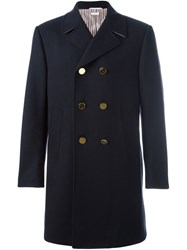Thom Browne Double Breasted Coat Blue